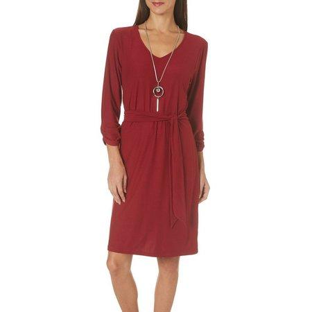 Allison Brittney Womens Solid Tie Waist Dress