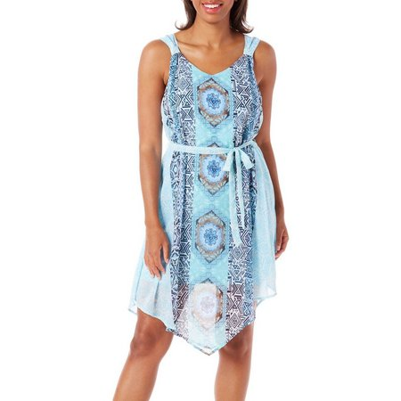 Allison Brittney Womens Tribal Tie Waist Dress