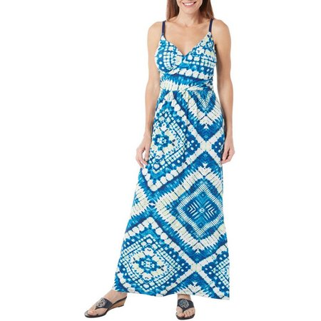 Allison Brittney Womens Tie Dye Diamond Maxi Dress