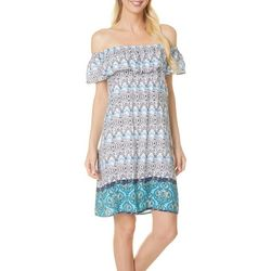 Allison Brittney Womens Printed Off-Shoulder Dress