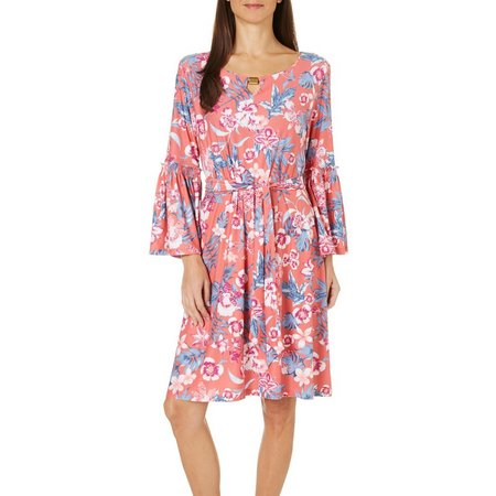 Allison Brittney Womens Floral Tie Waist Dress