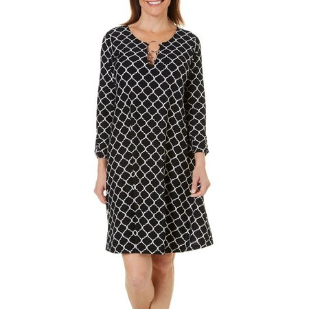 Allison Brittney Womens Trellis Print A-Line Dress