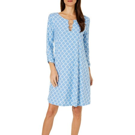 Allison Brittney Womens Trellis Print Ruched Sleeve Dress