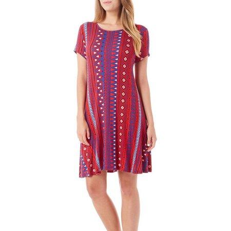 Allison Brittney Womens Aztec Knit T-Shirt Dress