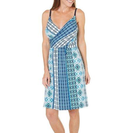 Allison Brittney Womens Patchwork Print Wrap Dress
