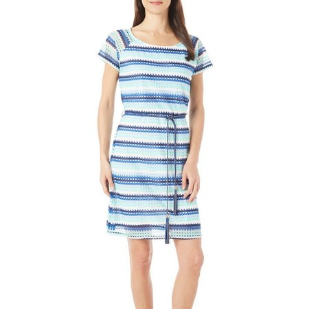 Allison Brittney Womens Stripe Crochet Shift Dress