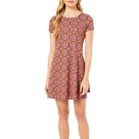 Espresso Womens Floral Medallion Print T-Shirt Dress