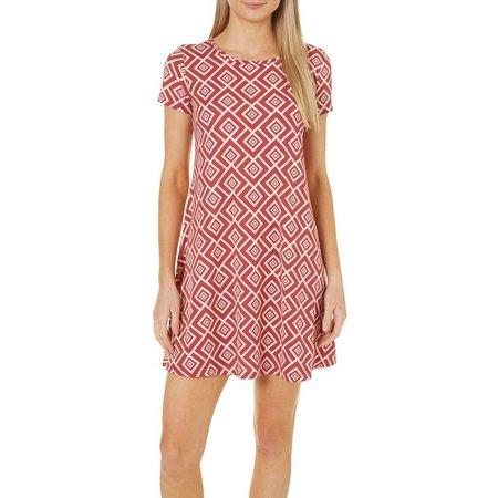 Allison Brittney Womens Square Print T-Shirt Dress