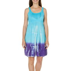 Lola P Womens Tie Dye Fringe Trim Sundress