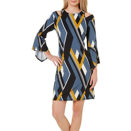 Baku Womens Geo Print Cold Shoulder Dress
