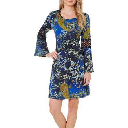 Baku Womens Paisley Print Bell Sleeve Dress