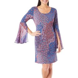 Ronni Nicole Womens Bell Sleeve Printed Dress