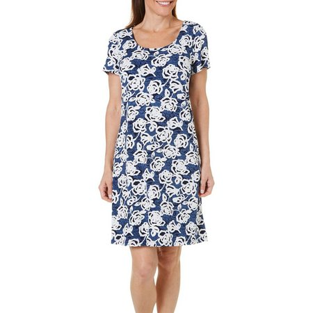 Ronni Nicole Womens Floral Puff Print Dress