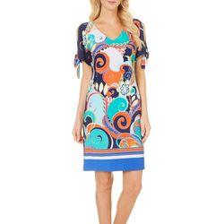 Ronni Nicole Womens Mix Print Shift Dress