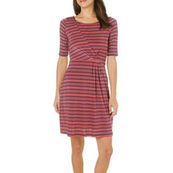 Gilli Womens Striped Print Ruched Dress