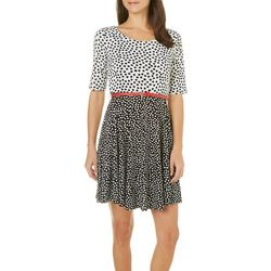 Gilli Womens Belted Print Mixed A-Line Dress