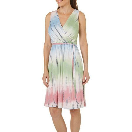 Gilli Womens Tie Dye Wrap Detail Dress