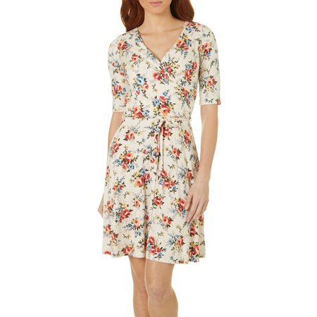 Gilli Womens Floral Print Faux Wrap Dress
