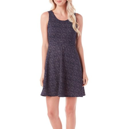 Gilli Womens Sleeveless Grid Print Dress