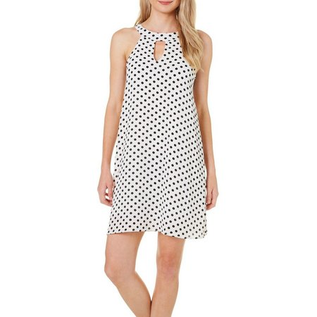 Gilli Womens Sleeveless Dot Keyhole Dress