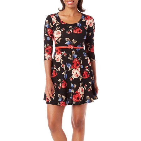 Gilli Womens Belted Floral Print Dress