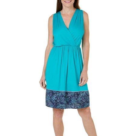 Gilli Womens Border Print Faux Wrap Dress