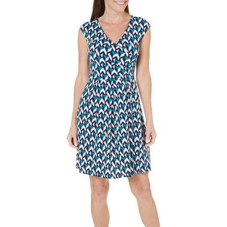 Gilli Womens Geo Print Faux Wrap Dress