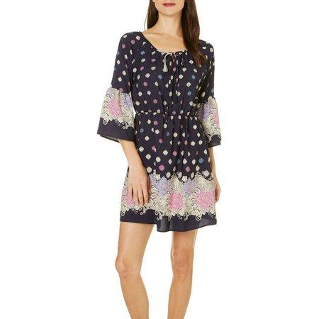 Gilli Womens Floral Peasant Dress