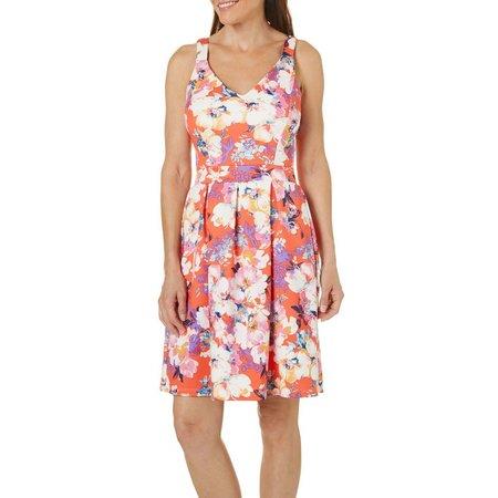 Solgee Womens Floral Print Pleat Waist Dress