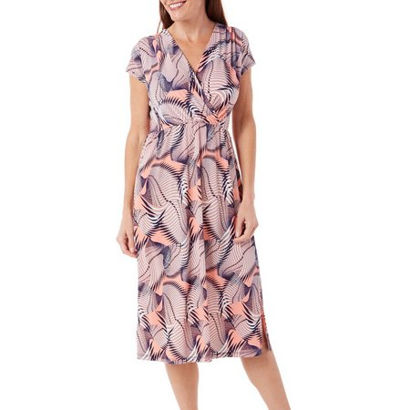 Gilli Womens Leaf Print Surplice Dress