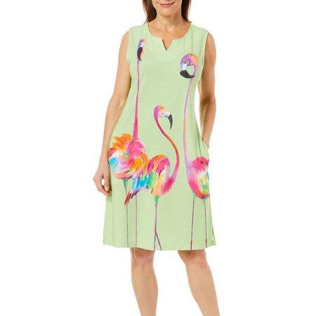 Ellen Negley Womens Funky Flamingos Dress