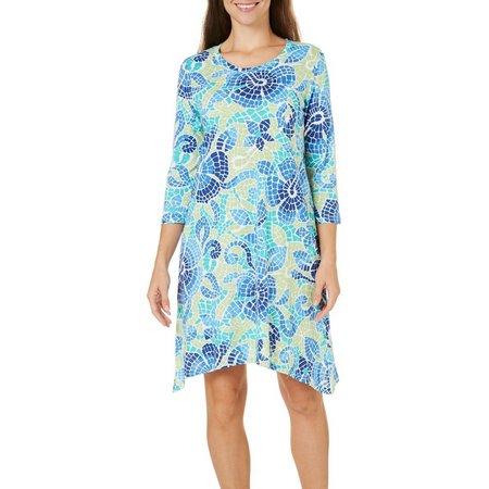 Caribbean Joe Womens Tile Print Sharkbite Hem Dress
