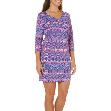 Caribbean Joe Womens Ikat Print V-Neck Dress