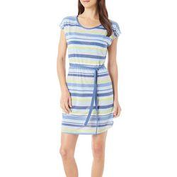 Silverwear Womens Striped Tie Waist Dress