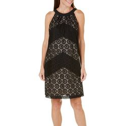London Times Womens Crochet Lace Halter Dress