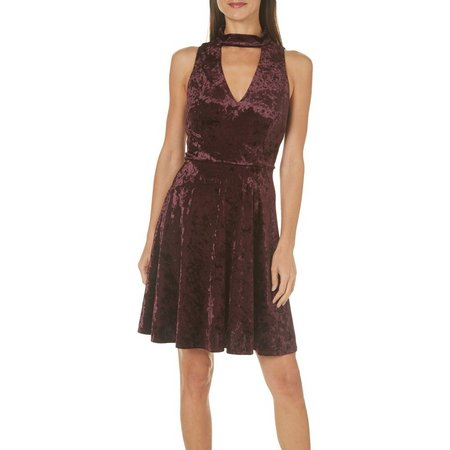 London Times Womens Mock Neck Gigi Velvet Dress