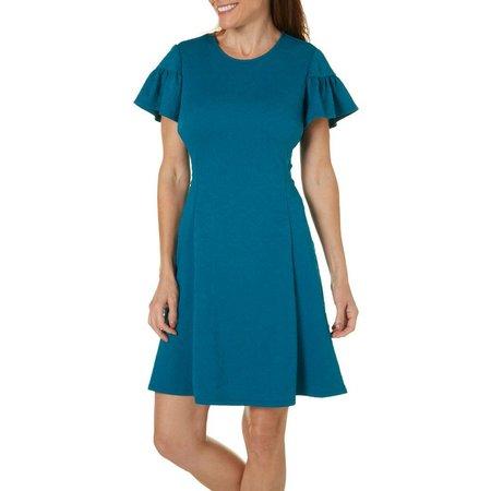 London Times Womens Jacquard Fit & Flare Dress