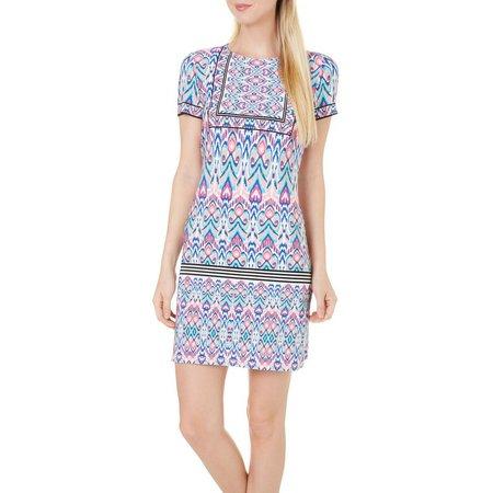 London Times Womens Ikat Printed Shift Dress