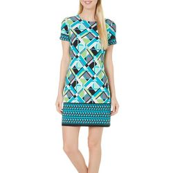 London Times Womens Geo Printed Shift Dress