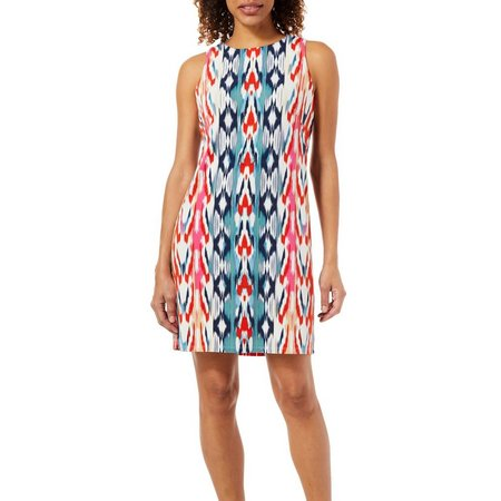 London Times Womens Ikat Print Sleeveless Dress