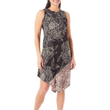 London Times Womens Floral Asymmetrical Dress