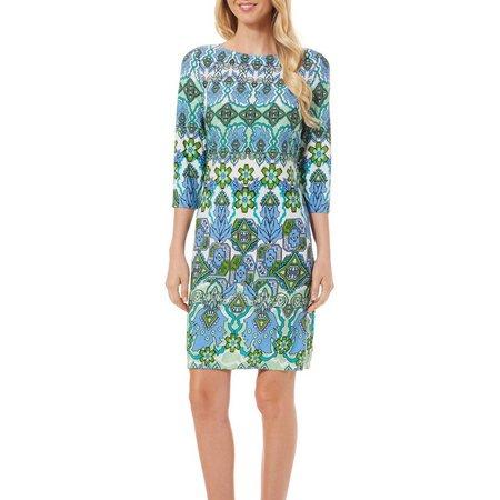 London Times Womens Geometric Print Shift Dress