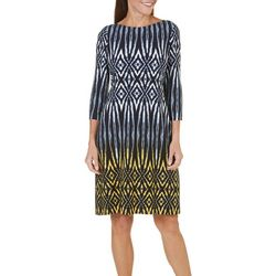 London Times Womens Geo Ikat Print Shift Dress