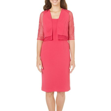 Maya Brooke Womens Textured Jacket Dress