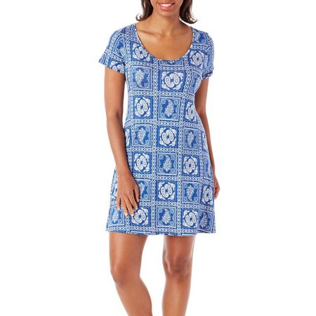 Espresso Womens Paisley Stamp Print T-Shirt Dress