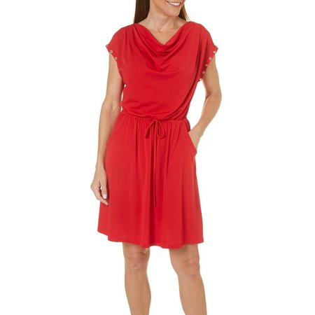 Espresso Womens Grommet Flutter Sleeve Dress