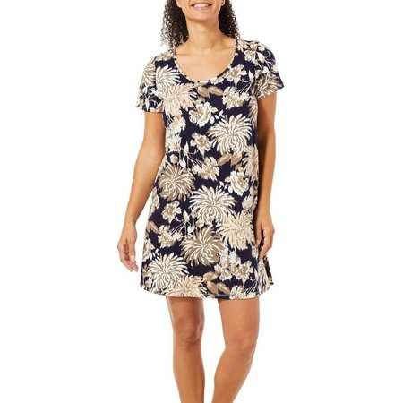Espresso Womens Floral Print T-Shirt Dress