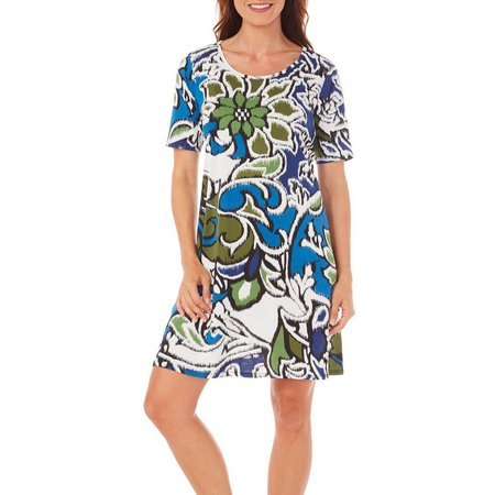 Espresso Womens Floral Blur Print T-Shirt Dress