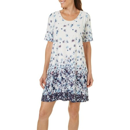 Espresso Womens Floral Painterly Print T-Shirt Dress
