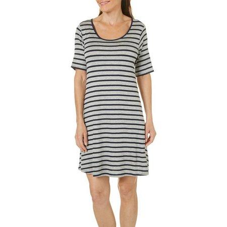Espresso Womens Scoop Neck Stripe T-Shirt Dress